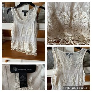Ivory tank top with knit overlay by INC